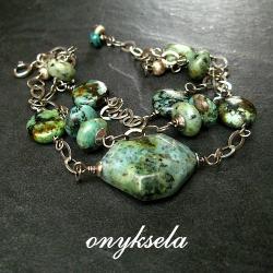 turkusowa,naturalna - Bransoletki - Biżuteria