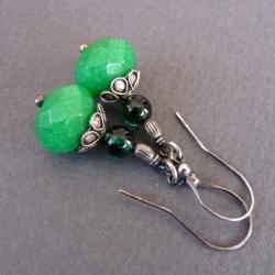 romantyczne zielone kolczyki - Kolczyki - Biżuteria