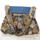 Na ramię pojemna torebka,kwiatowa,delikatna,oliwkowa