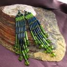 Kolczyki śliczne długie kolczyki zielone,niebieskie