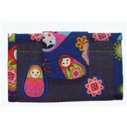 portfel z tkaniny bawełnianej w matrioszki i dżins - Portmonetki - Dodatki