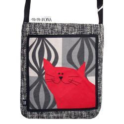 torba,zamsz,kot,szary,czerwony,obraz,a4 - Na ramię - Torebki