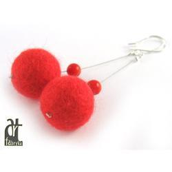 czerwone kolczyki z filcu,filcowe,koral, - Kolczyki - Biżuteria