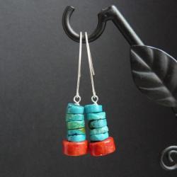 proste kolczyki z turkusem i koralem - Kolczyki - Biżuteria