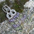 Kolczyki srebrne filigrany,długie,z minerałami