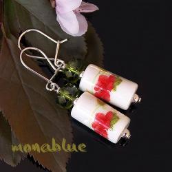 romantyczne kolczyki,kwiatowe,maki,porcelanowe - Kolczyki - Biżuteria