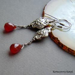 kolczyki,z karneolem,karneol, - Kolczyki - Biżuteria