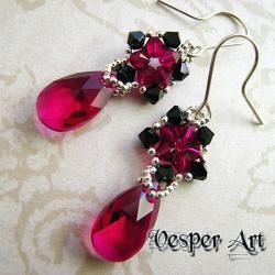 kolczyki plecione z kryształami Swarovski - Kolczyki - Biżuteria