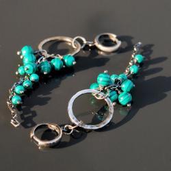 kolczyki z malachitami,oryginalne - Kolczyki - Biżuteria