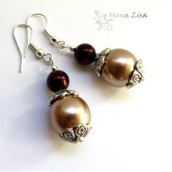 brązowe kolczyki,beżowe,beż,jabloneks - Kolczyki - Biżuteria