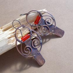 miedziane,kute,oryginalne - Kolczyki - Biżuteria