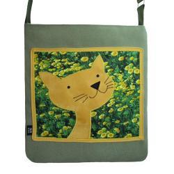 torba,pojemna,kot,kwiaty,zielony,łąka,żółty - Na ramię - Torebki