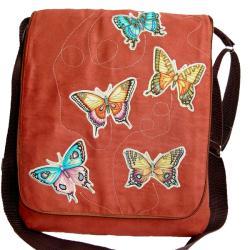 torba listonoszka,motyle,a4,zamsz,motyl,kobieca - Na ramię - Torebki
