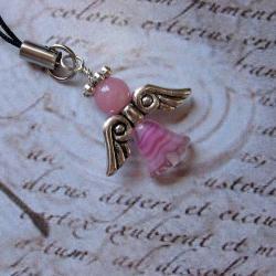 Aniełek,różowy,breloczek,charm,Extrano - Breloki - Biżuteria