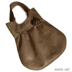 torba,worek,zamsz alcantara,brązowy,A4,kwiaty, - Na ramię - Torebki