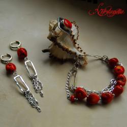 komlet z koralemi,srebrny,ze srebra - Komplety - Biżuteria