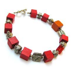 drewno,bali,czerwień,bransoletka - Bransoletki - Biżuteria