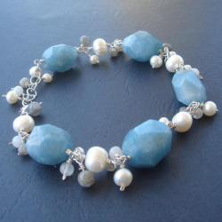 kwarc,bransolertka,labradoryt,perły,srebro - Bransoletki - Biżuteria