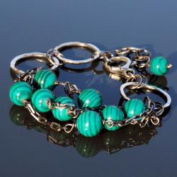 bransoletka z malachitem,oryginalna - Bransoletki - Biżuteria
