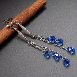 subtelen,srebrne kolczyki,długie,kwarc - Kolczyki - Biżuteria