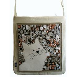 torba,a4,ecru,kot,zamsz,kwiaty, - Na ramię - Torebki