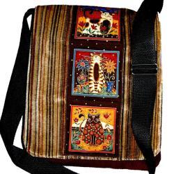 torba,listonoszka,kot,A4,brązowy - Na ramię - Torebki