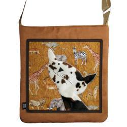 torba,zamsz,brązowy,beżowy,kot,a4,safari - Na ramię - Torebki