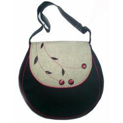 torba,na ramię,na skos,wełna,aplikacja, - Inne - Torebki
