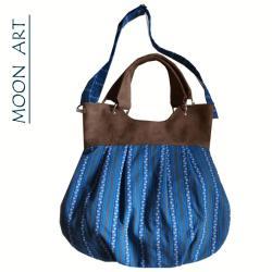 torba,worek,na skos,na ramię,zamsz,niebieski,brąz, - Na ramię - Torebki