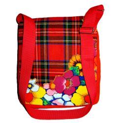 torebka listonoszka,kwiaty,sztruks,pomarańczowa - Na ramię - Torebki