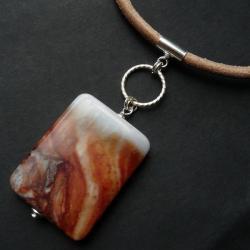 naszyjnik z jaspisem na rzemieniu - Naszyjniki - Biżuteria