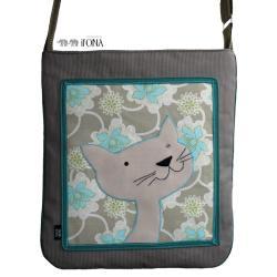 torba,a4,kot,zielony,kwiaty,zamsz, - Na ramię - Torebki