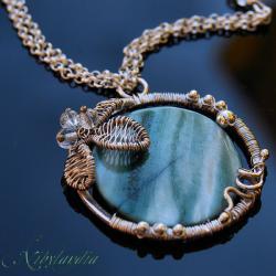 naszyjnik z masą perłową,morski,wire-wrapping - Naszyjniki - Biżuteria