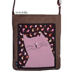 torba,zamsz,kot,różowy,ptaki,brązowy - Na ramię - Torebki
