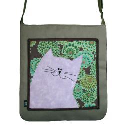 torba,a4,kot,zielony,kwiaty,zamsz,fioletowy - Na ramię - Torebki