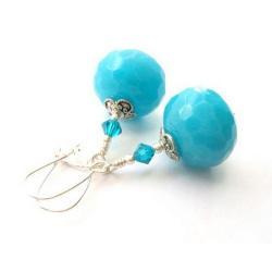 Jadeit,Swarovski,niebieskie kolczyki,lazurowe - Kolczyki - Biżuteria