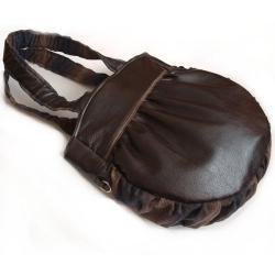 brązowa torba,na ramię,krata,wełna,brazowy - Na ramię - Torebki