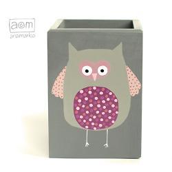 pojemnik,na przybory,pudełko,anamarko,sowa - Pudełka - Wyposażenie wnętrz
