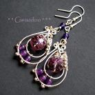 Kolczyki romantyczne kolczyki,fioletowe