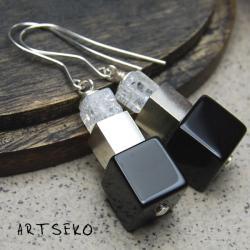 srebro,onyks,kryształ lodowy - Kolczyki - Biżuteria